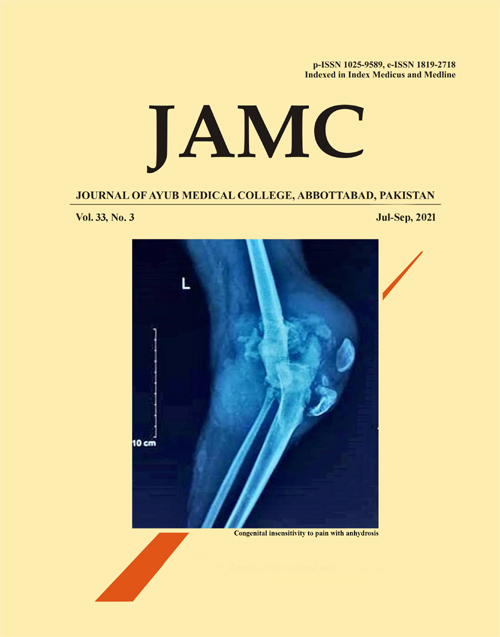 View Vol. 33 No. 3 (2021): Journal of Ayub Medical College Abbottabad